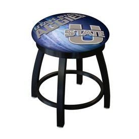 "18"" L8B2B-18 - Black Wrinkle Utah State Swivel Stool with Accent Ring by Holland Bar Stool Company"