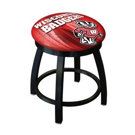 "18"" L8B2B-18 - Black Wrinkle Wisconsin ""Badger"" Swivel Stool with Accent Ring by Holland Bar Stool Company"