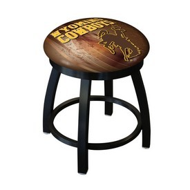 "18"" L8B2B-18 - Black Wrinkle Wyoming Swivel Stool with Accent Ring by Holland Bar Stool Company"