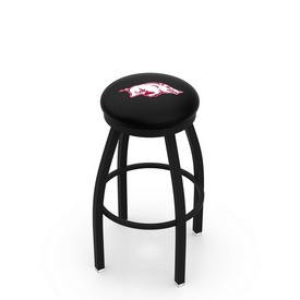 L8B2B - Black Wrinkle Arkansas Swivel Bar Stool with Accent Ring by Holland Bar Stool Company