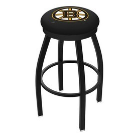 L8B2B - Black Wrinkle Boston Bruins Swivel Bar Stool with Accent Ring by Holland Bar Stool Company