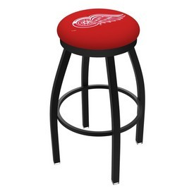 L8B2B - Black Wrinkle Detroit Red Wings Swivel Bar Stool with Accent Ring by Holland Bar Stool Company
