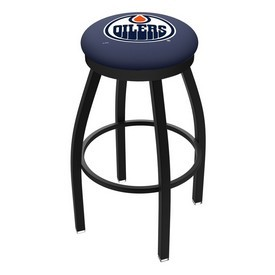 L8B2B - Black Wrinkle Edmonton Oilers Swivel Bar Stool with Accent Ring by Holland Bar Stool Company