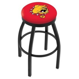 L8B2B - Black Wrinkle Ferris State Swivel Bar Stool with Accent Ring by Holland Bar Stool Company