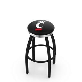 L8B2C - Black Wrinkle Cincinnati Swivel Bar Stool with Chrome Accent Ring by Holland Bar Stool Company