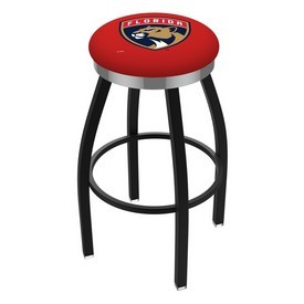 L8B2C - Black Wrinkle Florida Panthers Swivel Bar Stool with Chrome Accent Ring by Holland Bar Stool Company