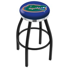 L8B2C - Black Wrinkle Florida Swivel Bar Stool with Chrome Accent Ring by Holland Bar Stool Company