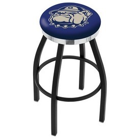L8B2C - Black Wrinkle Georgetown Swivel Bar Stool with Chrome Accent Ring by Holland Bar Stool Company