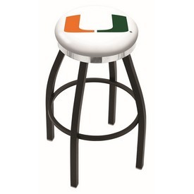 L8B2C - Black Wrinkle Miami (FL) Swivel Bar Stool with Chrome Accent Ring by Holland Bar Stool Company