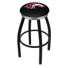 L8B2C - Black Wrinkle Southern Illinois Swivel Bar Stool with Chrome Accent Ring by Holland Bar Stool Company