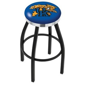L8B2C - Black Wrinkle Kentucky Wildcat Swivel Bar Stool with Chrome Accent Ring by Holland Bar Stool Company
