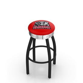 L8B3C - Black Wrinkle Alabama Swivel Bar Stool with Chrome 2.5 Ribbed Accent Ring by Holland Bar Stool Company
