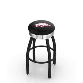 L8B3C - Black Wrinkle Arkansas Swivel Bar Stool with Chrome 2.5 Ribbed Accent Ring by Holland Bar Stool Company