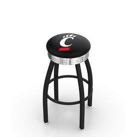 L8B3C - Black Wrinkle Cincinnati Swivel Bar Stool with Chrome 2.5 Ribbed Accent Ring by Holland Bar Stool Company