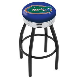 L8B3C - Black Wrinkle Florida Swivel Bar Stool with Chrome 2.5 Ribbed Accent Ring by Holland Bar Stool Company