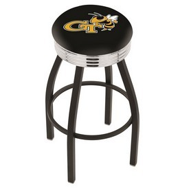 L8B3C - Black Wrinkle Georgia Tech Swivel Bar Stool with Chrome 2.5 Ribbed Accent Ring by Holland Bar Stool Company