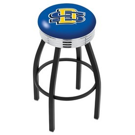 L8B3C - Black Wrinkle South Dakota State Swivel Bar Stool with Chrome 2.5 Ribbed Accent Ring by Holland Bar Stool Company