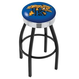 L8B3C - Black Wrinkle Kentucky Wildcat Swivel Bar Stool with Chrome 2.5 Ribbed Accent Ring by Holland Bar Stool Company