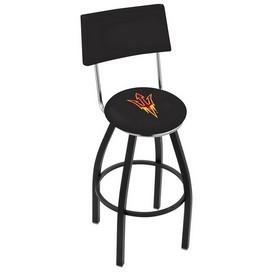L8B4 - Black Wrinkle Arizona State Swivel Bar Stool with a Back and Pitchfork Logo by Holland Bar Stool Company