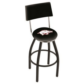 L8B4 - Black Wrinkle Arkansas Swivel Bar Stool with a Back by Holland Bar Stool Company