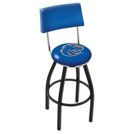 L8B4 - Black Wrinkle Boise State Swivel Bar Stool with a Back by Holland Bar Stool Company