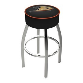 L8C1 - 4 Anaheim Ducks Cushion Seat with Chrome Base Swivel Bar Stool by Holland Bar Stool Company
