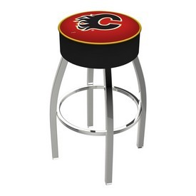 L8C1 - 4 Calgary Flames Cushion Seat with Chrome Base Swivel Bar Stool by Holland Bar Stool Company