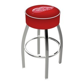 L8C1 - 4 Detroit Red Wings Cushion Seat with Chrome Base Swivel Bar Stool by Holland Bar Stool Company