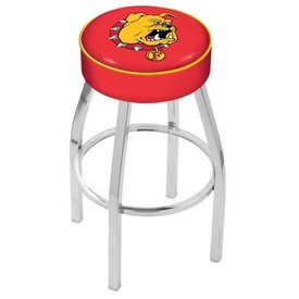 L8C1 - 4 Ferris State Cushion Seat with Chrome Base Swivel Bar Stool by Holland Bar Stool Company