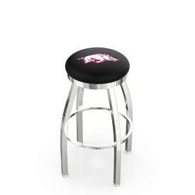 L8C2C - Chrome Arkansas Swivel Bar Stool with Accent Ring by Holland Bar Stool Company