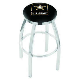 L8C2C - Chrome U.S. Army Swivel Bar Stool with Accent Ring by Holland Bar Stool Company