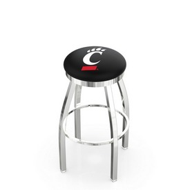 L8C2C - Chrome Cincinnati Swivel Bar Stool with Accent Ring by Holland Bar Stool Company
