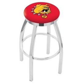 L8C2C - Chrome Ferris State Swivel Bar Stool with Accent Ring by Holland Bar Stool Company