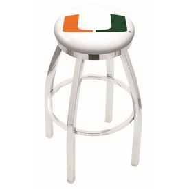 L8C2C - Chrome Miami (FL) Swivel Bar Stool with Accent Ring by Holland Bar Stool Company