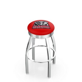 L8C3C - Chrome Alabama Swivel Bar Stool with 2.5 Ribbed Accent Ring by Holland Bar Stool Company