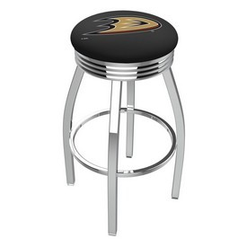 L8C3C - Chrome Anaheim Ducks Swivel Bar Stool with 2.5 Ribbed Accent Ring by Holland Bar Stool Company