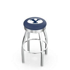 L8C3C - Chrome Brigham Young Swivel Bar Stool with 2.5 Ribbed Accent Ring by Holland Bar Stool Company