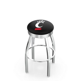 L8C3C - Chrome Cincinnati Swivel Bar Stool with 2.5 Ribbed Accent Ring by Holland Bar Stool Company