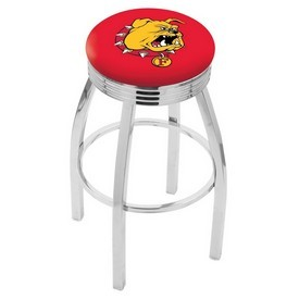 L8C3C - Chrome Ferris State Swivel Bar Stool with 2.5 Ribbed Accent Ring by Holland Bar Stool Company