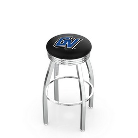 L8C3C - Chrome Grand Valley State Swivel Bar Stool with 2.5 Ribbed Accent Ring by Holland Bar Stool Company