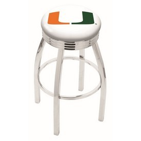L8C3C - Chrome Miami (FL) Swivel Bar Stool with 2.5 Ribbed Accent Ring by Holland Bar Stool Company