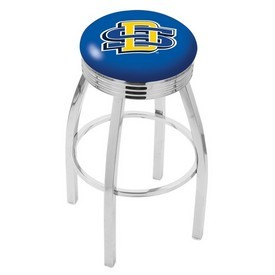 L8C3C - Chrome South Dakota State Swivel Bar Stool with 2.5 Ribbed Accent Ring by Holland Bar Stool Company