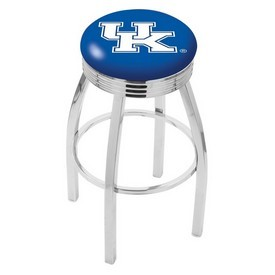 L8C3C - Chrome Kentucky UK Swivel Bar Stool with 2.5 Ribbed Accent Ring by Holland Bar Stool Company