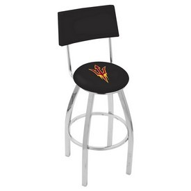 L8C4 - Chrome Arizona State Swivel Bar Stool with a Back and Pitchfork Logo by Holland Bar Stool Company