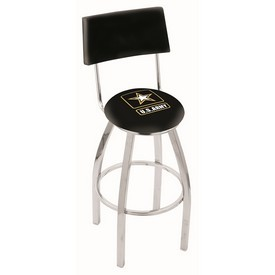 L8C4 - Chrome U.S. Army Swivel Bar Stool with a Back by Holland Bar Stool Company