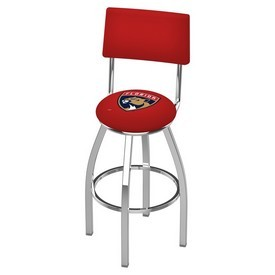 L8C4 - Chrome Florida Panthers Swivel Bar Stool with a Back by Holland Bar Stool Company