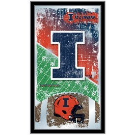 """Illinois 15"""" x 26"""" Football Mirror by Holland Bar Stool Company"""
