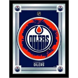 "Edmonton Oilers 17"" x 22"" Logo Mirror by Holland Bar Stool Company"