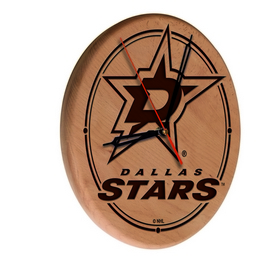Dallas Stars Laser Engraved Wood Clock by the Holland Bar Stool Co.