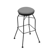 3020 Swivel Stool with Black Wrinkle Finish and Canter Folkstone Grey Seat